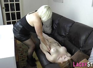 Brit gran strapon copulated unconnected with big-titted tribadic - toys