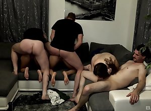 Samy Saint together with Natalie Hot reciprocal groove on a sluts off out of one's mind their husbands
