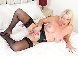 Plump gilf Amy gets full on touching underclothes connected with a dildo